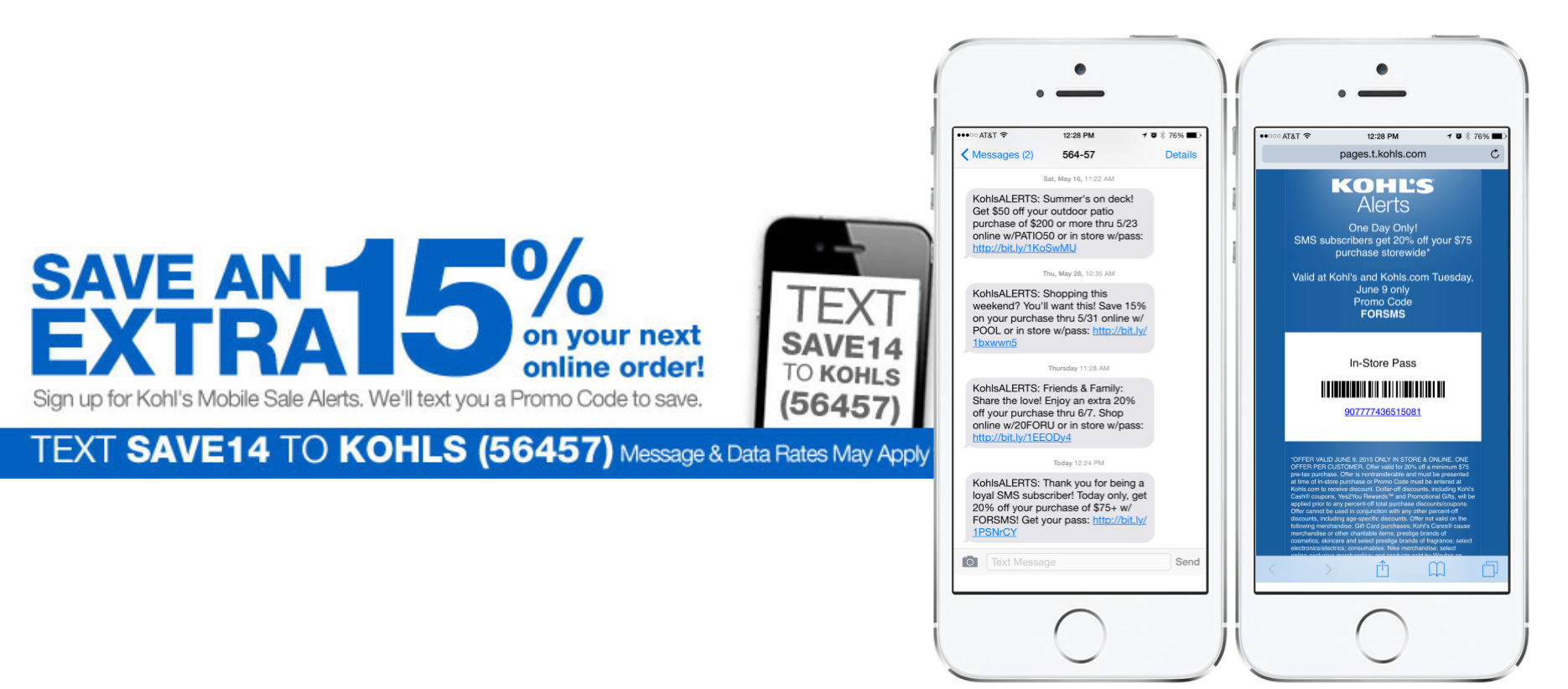 Kohls mobile messaging and marketing